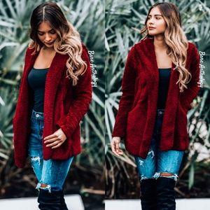 Jackets & Blazers - Burgundy Fleece Hoodie Jacket